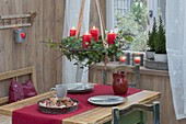 Hanging Advent wreath made of Abies (fir), Cornus (dogwood)