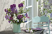 Tulipa 'Purple Prince' (Tulip), Prunus (Cherry), Viburnum