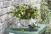 Colorful spring bouquet with Pulmonaria (lungwort), Lamium