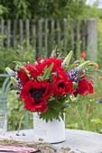 Lush Papaver oriental 'Turkenlouis' (poppy) bouquet