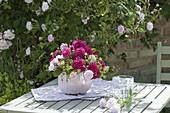 Small Rose 'Paul's Himalayan Musk' and 'Rose de Resht' bouquet of