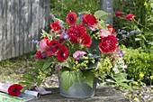 Brilliant bouquet in zinc bowl