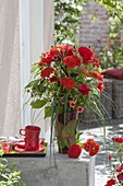 Fiery bouquet of Lychnis chalcedonica, Potentilla