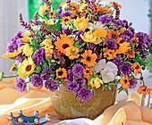 Calendula, Centaurea (Cornflower), Zinnia (Zinnia)