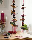 Threaded fruit stands as decoration