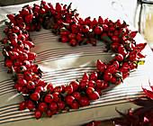 Rosehip wreath in heart shape