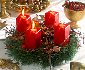 Advent wreath made of pine twigs