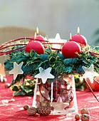 Advent wreath made of Nordmann fir, Ilex branches, false cypresses