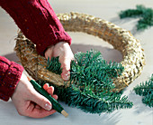 Ceiling Advent Wreath - Tie Nobilistan branches around the straw blank