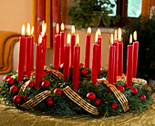 Traditional Advent wreath with 24 candles