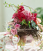 Hyacinthus, twigs and Easter eggs bouquet