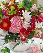 Rosa rugosa (Apple Rose), Paeonia (Peony), Campanula