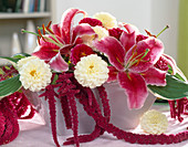 Lilium 'Stargazer', Dahlia, Amaranthus (Foxtail)