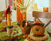 Corncobs, pumpkin faces, wreath of corn kernels, physalis