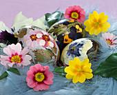 Painted eggs with flower motifs, Primula acaulis
