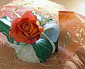 Rose petals as a decoration for a present