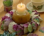 Table decoration, brassica wreath (ornamental cabbage)