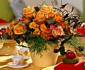 Rose petals, Dendranthema autumn chrysanthemum, Aspargus ornamental asparagus