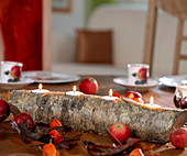 Birch trunk as Advent wreath, holes drilled