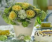 Bouquet with rose 'Limbo', viburnum (snowball), gypsophila