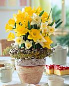 Narcissus hybrid bouquet, Salix wreath