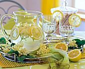 Elderberry lemonade, water, sugar, lemons and elderflowers