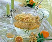 Elderberry lemonade, water, sugar, lemons and