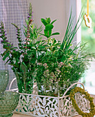 Herb bunch with salvia, mentha, origanum, chives