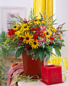 Rudbeckia (coneflower), grasses, Solidago (goldenrod)