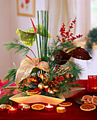 Adventitious arrangement with flamingo flower