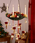 Hanging Christmas wreath decorated with malus (apple), cupressus