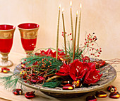 Christmas arrangement with amaryllis, twigs and berry decorations