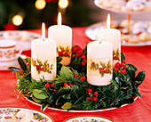 Advent wreath out of branches and candles