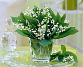 Convallaria majalis (Lily of the valley) in glass on cake plate