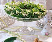 Scented wreath of Convallaria majalis (lily of the valley) and Galium