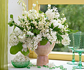 Scented syringa lilac bouquet, Convallaria lily of the valley, Dicentra