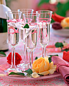 Champagne glasses with name tags