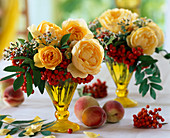 Rose 'Graham Thomas' English Roses, Sorbus Rowanberries, Aster ericoides