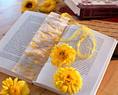 Bookmark with pressed petals