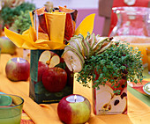 Apple table decoration made of apples