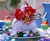 Ceramic egg with primula (spring primrose)