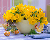 Narcissus (Yellow Daffodil), Prunus (Cherry Branches)