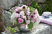 Bouquet of Rose, allium, hydrangea