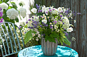 Blue-white bouquet with lavandula (lavender), hydrangea