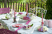 Table decoration with Hydrangea flowers (Hydrangea), Clematis