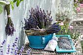 Dried lavandula (lavender) in enamel bowl