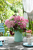 Cottage bouquet in green pot, Hydrangea 'Pink Annabelle'