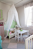 Old bed under canopy in charming nursery