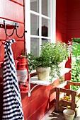 Rotes Gartenhäuschen mit Küchenkräutern vor dem Fenster