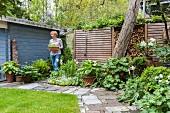 Garten im Frühling mit weißen Tulpen, Grünpflanzen und Frau neben Gartenhaus